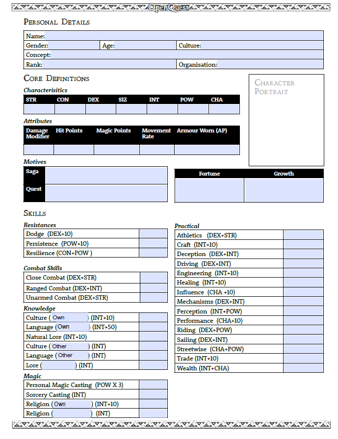 OpenQuest 3 Character Sheet