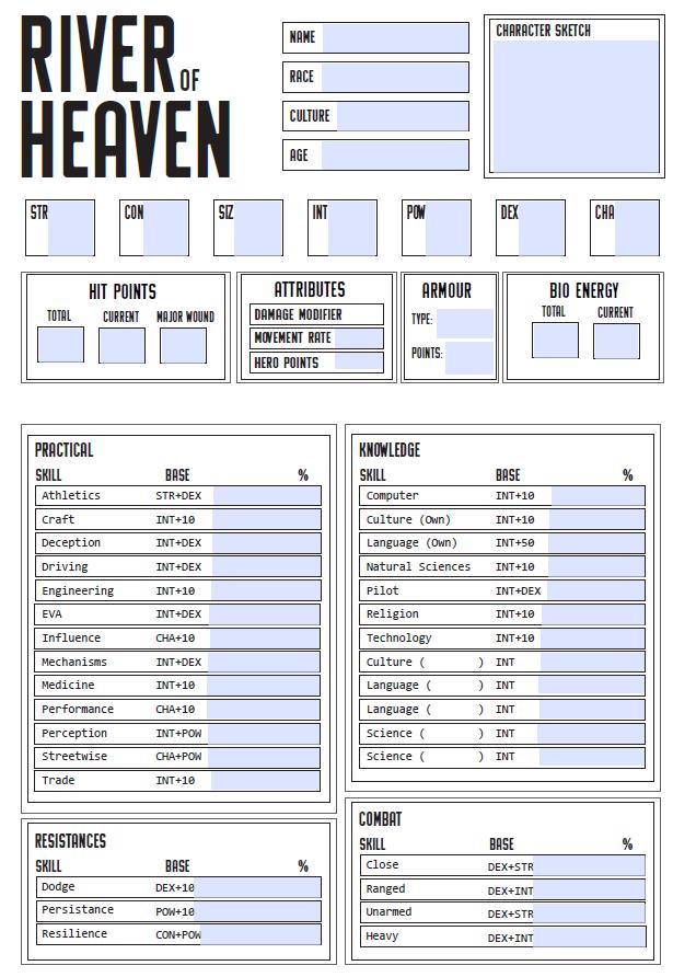 River of Heaven Character Sheet